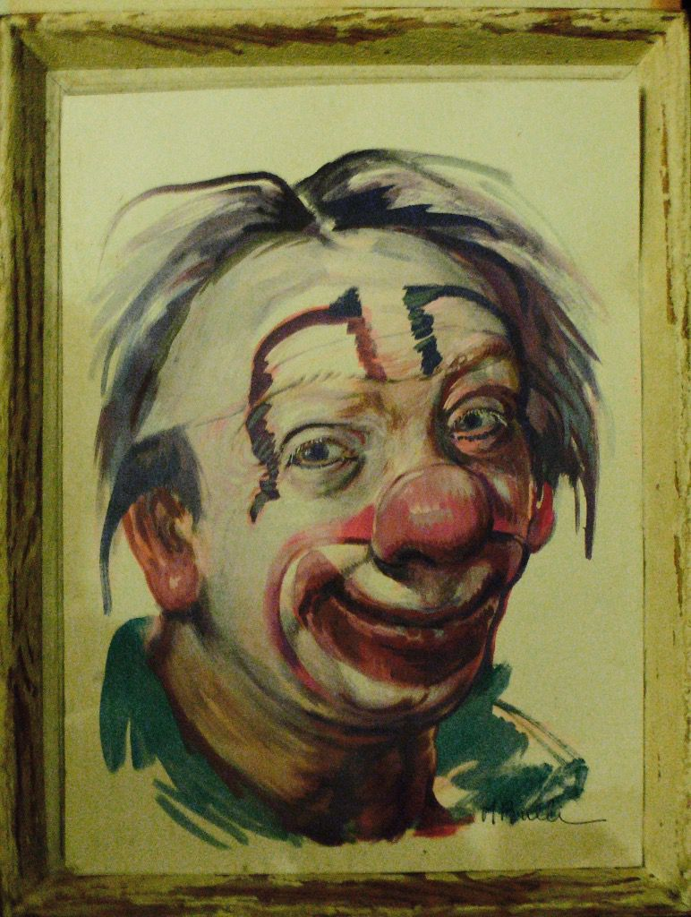 Le Clown ( Aquarelle 50 x 70 ) signée Bulli .
